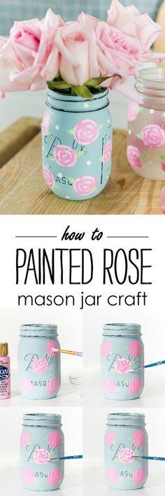 Painted Rose Mason Jar Craft - How To Paint A Rose - Mason Jar Craft Ideas Spring @itallstartedwithpaint.com