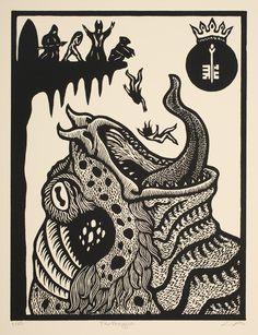 Cthulhu Bestiary- The Great Old Art And Illustration, Call Of Cthulhu Rpg, Lovecraft Cthulhu, Art Graphique, Linocut Prints, Woodcut Art, Dark Art, Printmaking, Stencil