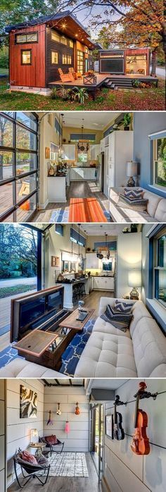 The Amplified Tiny House is 400-square-feet and built on a foundation, and the 160-square-foot mobile recording studio was built on a tiny house trailer.