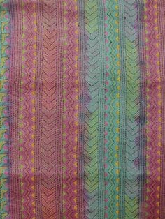 Buy Green with Magenta Dyed Hand Embroidered Kantha Blouse Fabric