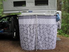 The showers are attached to the main bathroom in the center of the campground.Handy shower caddy and floor cover.BEST CAMP SHOWER PRIVACY CURTAIN EVER.mesh shower organizer attached with cup hooks.Outdoor shower enclosure for RV. Slide In Camper, Popup Camper, Truck Camper, Camper Van, Truck Bed, Outdoor Shower Enclosure, Shower Tent, Shower Curtains, Outside Showers
