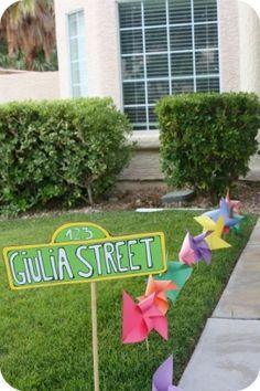 Sesame Street Birthday - decor - outdoor sign and pinwheels
