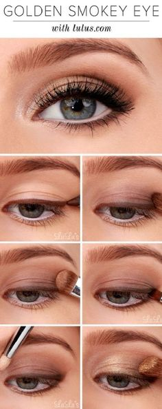 Start with a brown eyeliner and work it along the top lash line. Using a fluffy brush, smudge it outwards. Then taking a light brown shade lightly sweep across the eyelid, building up the colour at the outer corner. Gently add a gold shade to the centre to finish the look off in style.
