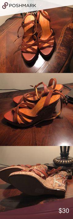 Summer Sandals Brunt orange 3 1/2 inches wedge cork detailed heel size 8, never been worn. Gabriella Rocha Shoes Sandals