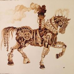 """It Took Me Many Hours To """"Paint"""" Steampunk Art Using Real Coffee 