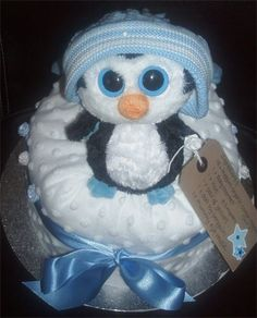 My little blue penguin nappy cake