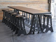 10 foot A Frame bar table with A Frame stools, by Vintage Industrial in Phoenix...