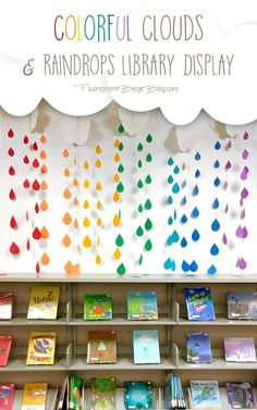 Library Display: Colorful Clouds & Raindrops You've put up with the April showers, now bring on the May flowers! This colorful clouds & raindrops display will brighten up any classroom or learning space. Kindergarten Classroom Decor, Preschool Rooms, Classroom Decor Themes, Classroom Walls, New Classroom, Classroom Design, Classroom Organization, Space Classroom, Toddler Classroom Decorations