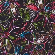 Black/Multicolor+Abstract+Floral+Crinkled+Silk+Chiffon