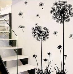 "Free shipping 57"" x 29"" Decor Dandelion Flower Removable Bed Room Art Mural Vinyl Wall Sticker Decal"