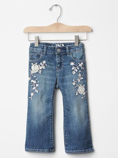 1969 floral embroidered flare jeans