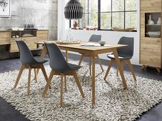 Dining table in choice of oak wood effect, matt stone with oak wood effect accents, white pine wood effect #germania #modernfurniture #interiordesign #homedecor #interiors #furniture #homedesign #designerfurniture #love