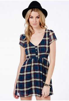 Malisa Tartan Chiffon Skater Dress - Dresses - Skater Dresses - Missguided
