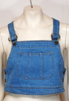 Vintage Blue Denim Overall Crop Top by VintageFashionUSA on Etsy