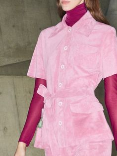 A short sleeve safari jacket with patch pockets in light pink suede from the #VBPreAW18 collection.