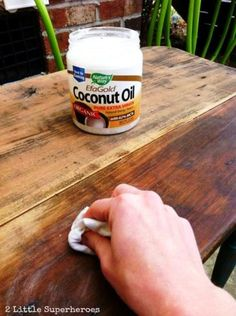 How To Refinish Furniture With Coconut Oil... http://healthandnaturalliving.com/refinish-furniture-coconut-oil/  Click the link to see a case study with step by step photos revealing how Danielle from 2LittleSuperheroes.com turned a grubby looking vintage table into this beautiful piece of furniture using coconut oil.