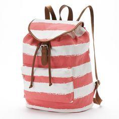 Candie's Riley Backpack (Orange) ($30) ❤ liked on Polyvore featuring bags, backpacks, orange, military rucksack, daypacks, white backpack, knapsack and drawstring backpack
