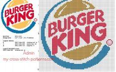 Le logo de Burger King grille point de croix