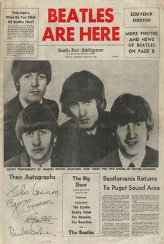 Beatles Are Here - front page headline