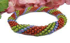 #Crochet Bead Bangle #Bracelet Green Purple by @dusamae #CraftingMemories1