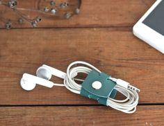Cord organizer leather headphone holder cord organiser iphone cord holder leather cord keeper headphone wrap earphone organizer - Free gift by KodamaLife on Etsy