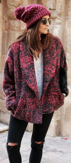 Pink And Black Knit Loose Jacket by Coohuco