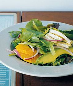Chicken, Avocado, and Orange Salad recipe from realsimple.com #myplate #protein #vegetables