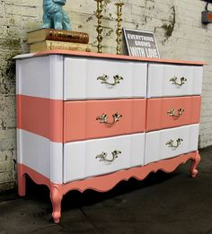 $650 + 50 shipping. Vintage six drawer dresser with Cream and Coral stripes. Solid wood, dovetailed drawers. French design ad original hardware. Perfect for a baby nursery or entry way.Rebranding company and adding new furniture- Formerly Shabby Maggie - www.shabbymaggie.com (2nd pin)