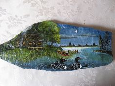 Serene cottage acrylic painting on rock with stand. This is a really pretty picture! Slate Art, Slate Rock, Painted Slate, Painted Stones, Stone Painting, Rock Painting, Barnwood Ideas, Weird Shapes, Shell Crafts