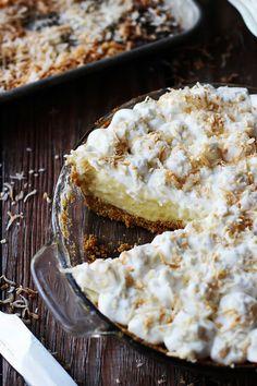 The delicious white chocolate coconut cream pie