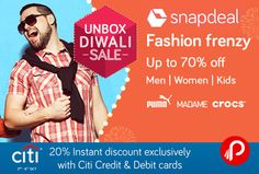 Snapdeal #UnboxDiwaliSale brings Upto 70% off on Fashion Frenzy Men Women Kids. Big Brands, Bigger Brands. Get 20% Instant Discount exclusively with Citi Credit and Debit Cards.   http://www.paisebachaoindia.com/fashion-frenzy-men-women-kids-upto-70-off-snapdeal-unbox-diwali-sale-snapdeal/