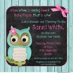 Turquoise and pink owl theme party and invitation