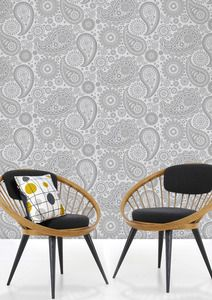 the details are awesome...look closely :) - Paisley Crescent Wallpaper - Concrete