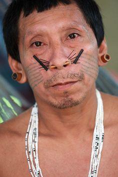 Brazil ~ Amazon Rainforest | Matis Indian man | © José F. Ferrer
