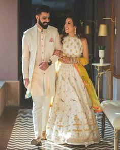 21 Fashionable & Dapper Mehndi Outfit Ideas for Your Groom Indian Engagement Outfit, Engagement Dress For Groom, Couple Wedding Dress, Wedding Dresses Men Indian, Indian Wedding Couple, Engagement Dresses, Wedding Attire, Indian Bridal, Indian Dresses