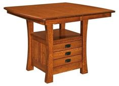Amish Mission Kitchen Table with Storage This multifunctional kitchen table offers a host for family meals, added storage space and solid wood beauty. Built in Amish country. Choose wood, stain and more. #Amishtables