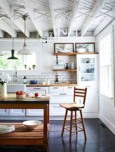 white + wood modern vintage farmhouse kitchen