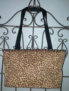 LIZ CLAIBORNE Animal Print Tote Purse  Black Gold Brown Cheetah Vintage 90's #LizClaiborne #TotesShoppers