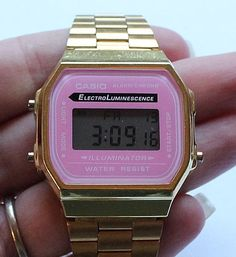Women's CASIO ELECTROLUMINESCENCE Digital Rare Pink Bezel Watch Model A168 #Casio #Dress