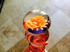 Hand-blown Glass Dildo - Pink with flower - Sex Toy