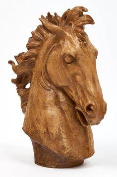 Important French Art Deco Terracotta Horse Head Sculpture 9