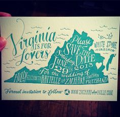 Virginia is for Lovers Save the Date, hand drawn and printed by Ladyfingers Letterpress!