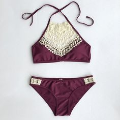 ahhh if I were only 16 again!!!----Cupshe Blooming Above Lace Halter Bikini Set