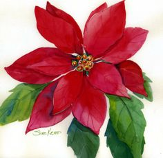 Easy To Grow Houseplants Clean the Air Flower Painting - Christmas Poinsettia By Sue Kemp Christmas Poinsettia, Christmas Flowers, Christmas Art, Beautiful Christmas, Christmas Decorations, Christmas Ornaments, Poinsettia Flower, Farmhouse Christmas Decor, Christmas Paintings