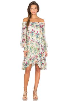88a576370bb8 Shop for Essentiel Antwerp Lage Floral Long Sleeve Off Shoulder Dress in  Galactic Pink at REVOLVE. Free day shipping and returns