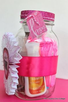 Breast Cancer Gift in a Jar plus a giveaway! ~ * THE COUNTRY CHIC COTTAGE (DIY, Home Decor, Crafts, Farmhouse)