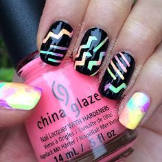 """""""Neons for Day 28 #nailartapr. I used striping tape and mini chevron nail vinyls from @teismom to achieve this look. Polishes used are Cult Nails…"""""""