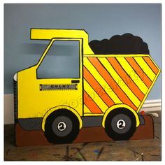 This Dump Truck Cutout is great for any construction theme party! Just picture your cutie sitting like a real truck driver with their own #personalized #truck #LittleGoobersParty