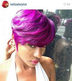 black girl with colorful hair, purple hair, short haircut