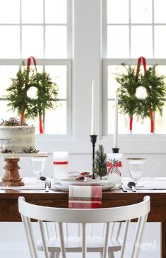 Dining Room Decor for Christmas Vintage Modern Christmas Table Decor Christmas Dining Room Table, Modern Centerpieces, Christmas Dining Room, Modern Christmas, Christmas Decorations, Christmas Table Decorations, Dining Table Centerpiece, Table Decorations, Farmhouse Dining Rooms Decor